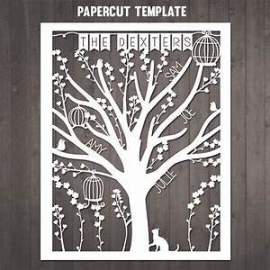 Diy Family Tree Papercut Template Personalised Family Tree