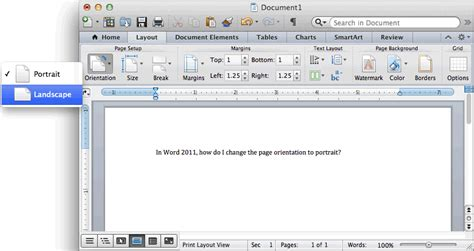 Layout Word by Ms Word 2011 For Mac Change The Page Orientation To Landscape