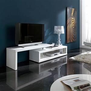 Meuble Tv Blanc Laqué : meuble tv blanc laqu extensible design saul ~ Teatrodelosmanantiales.com Idées de Décoration