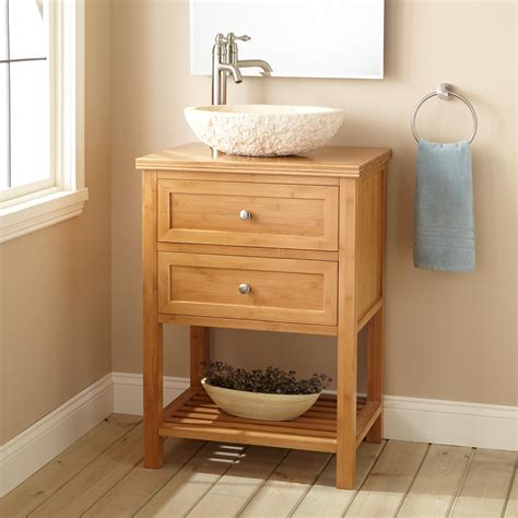 24 quot narrow depth taren bamboo vessel sink vanity bathroom
