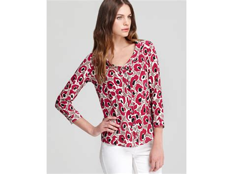 fuschia blouse burberry blouse fuscia print portrait collar in