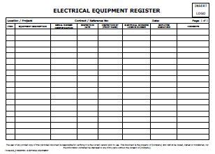 Log Sheet Template Word Register Electrical Equipment Allsafety Management Services