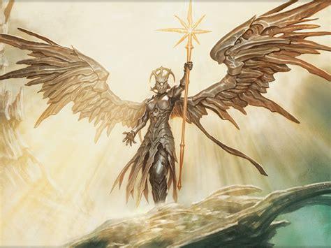 golden angel scepter  sun light rays fantasy art picture