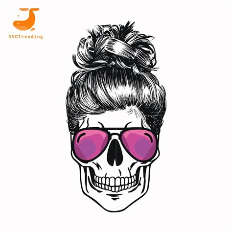 Browse our girly skull images, graphics, and designs from +79.322 free vectors graphics. Mom skull glasses svg ,dxf,eps,png digital file | Skull ...
