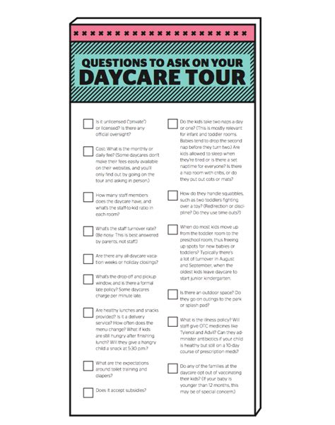 15 questions to ask on your daycare tour printable 200 | Daycare questions Todays Parent