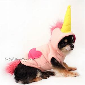 Pink Unicorn Dog Costume Fleece dog hoodie - Pet it Dog ...