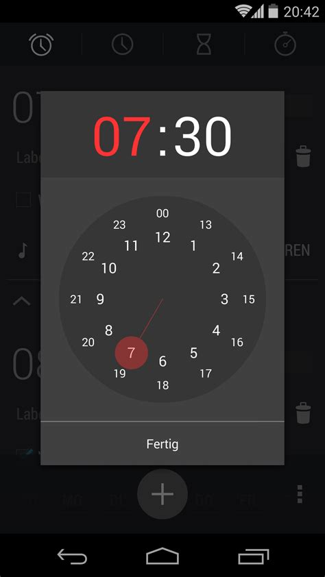 time for android where can i find the time picker view of the alarm