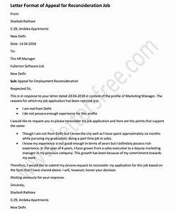 Sample Letter Of Appeal For Reconsideration
