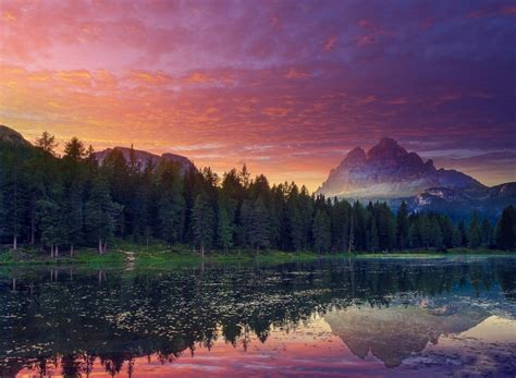 Nature, Landscape, Sunset, Mountain, Lake, Forest, Clouds
