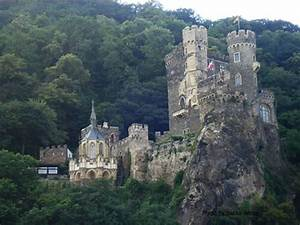 Castle Along The Rhine River In Germany
