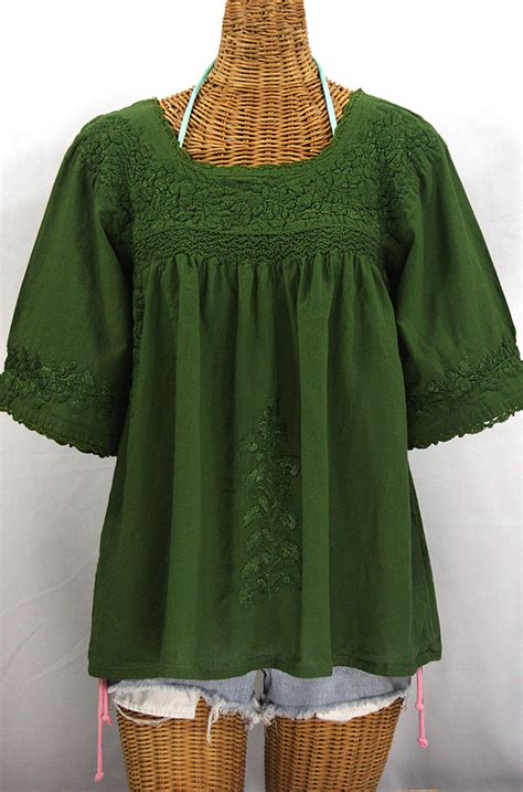 olive green blouse quot la marina quot embroidered blouse olive green