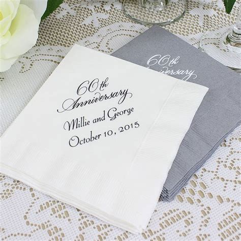 60th wedding anniversary color custom printed 60th wedding anniversary cocktail napkins set of 50