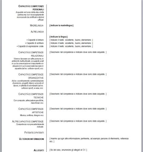 Lebenslauf Herunterladen by Modello Curriculum Vitae Gratis Letter Exles Europeo Da