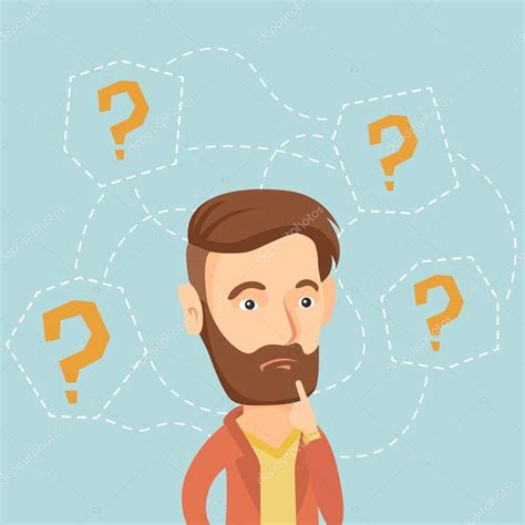 Young business man thinking vector illustration. — Stock ...