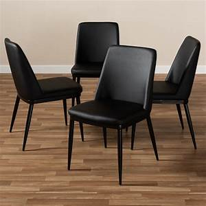 Baxton, Studio, Darcell, Modern, And, Contemporary, Black, Faux, Leather, Upholstered, Dining, Chair, Set, Of, 4