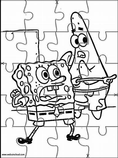 Puzzles Printable Spongebob Cut Jigsaw Activities Coloring