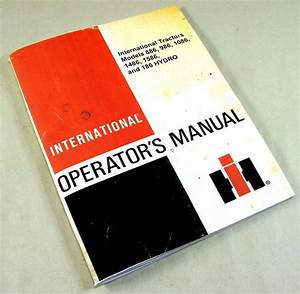 International 886 986 1086 1486 1586 Hydro 186 Tractors Operators Owners Manual