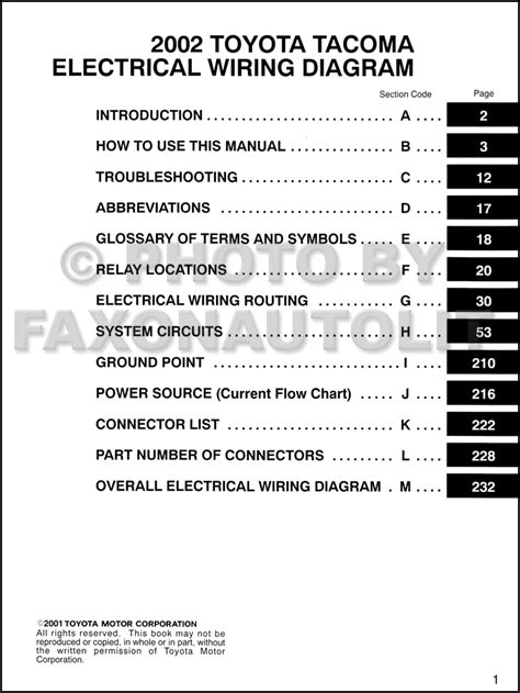 wiring diagram 2002 toyota tacoma 2002 toyota tacoma wiring diagram manual original