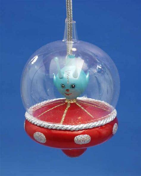 alien in glass dome spaceship personalized ornament