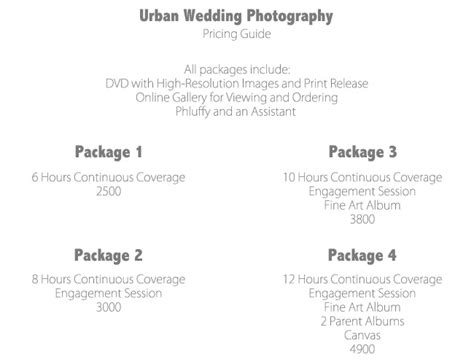 create photography packages  sell  modern tog