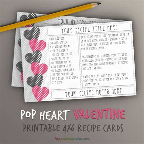 s day recipe card template pop hearts recipe card template 4x6 free printables