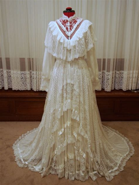 antique layered lace vintage wedding dress victoria