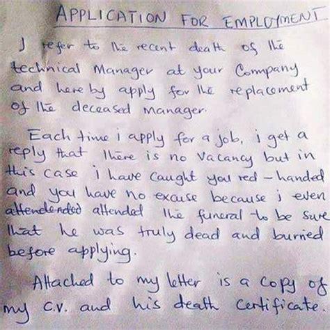 hilarious application letter  employment   job