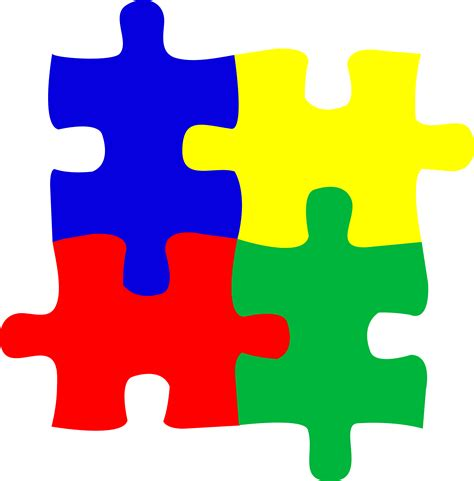 autism colors four puzzle pieces logo design free clip