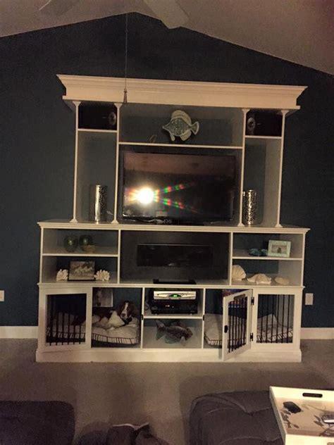 entertainment center  built  dog crates kitchen