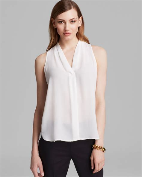 v blouse vince camuto sleeveless v neck blouse in white lyst