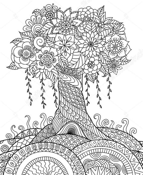 zentangle tree   hill adult coloring pages mandala coloring