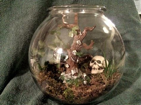 halloween skull terrarium   glass terrariums