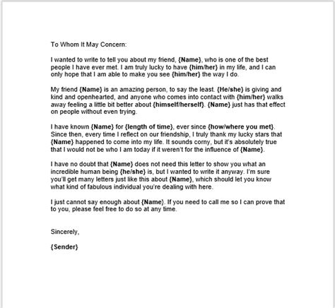 personal character reference letter template pictures
