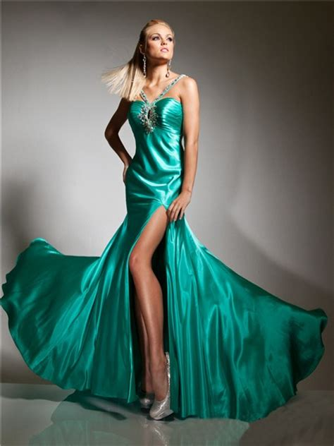 couture mermaid straps long turquoise silk prom dress cut