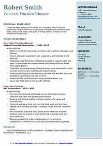 Example Summary For Resume Of Entry Level Concrete Finisher Resume Samples Qwikresume