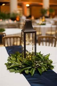Lantern, Centerpiece, With, Simple, Greenery