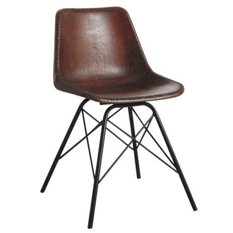 chaises salle à manger cuir chaise salle à manger en cuir marron et métal achat