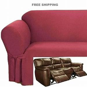 dual reclining sofa slipcover ribbed texture spice red With dual reclining sofa couch slipcover