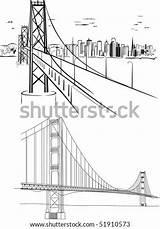 Bridge Gate Golden Drawing Hand Sketch Vector Shutterstock Illustrations Drawings Drawn Vectors Coloring Francisco sketch template