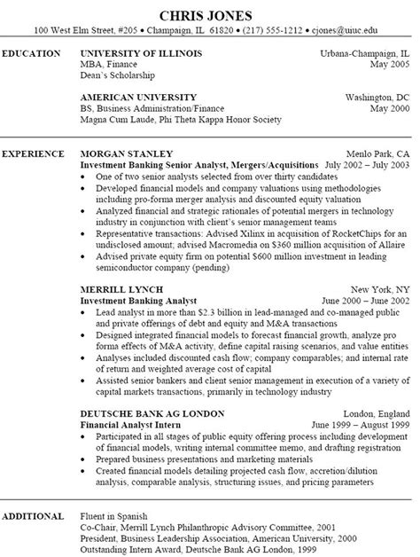 Banking Resumes by Investment Banking Resume Investment Banking Resume We