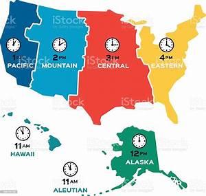 United States Time Zones Flat Design Stock Illustration