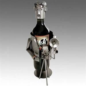Whimsical Photographer Metal Wine Bottle Holder - Barware
