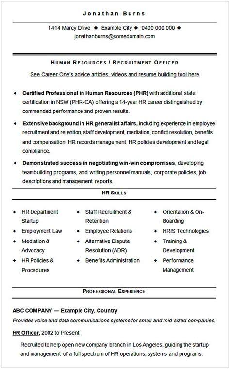 Cv Of Hr Generalist by Hr Manager Resume Sle