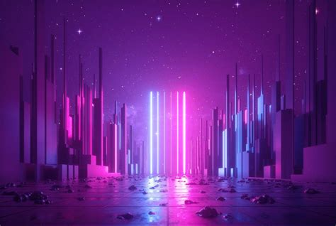 abstract neon background glowing ultraviolet vertical