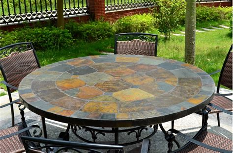 125-160cm Round Slate Patio Dining Table Tiled Mosaic