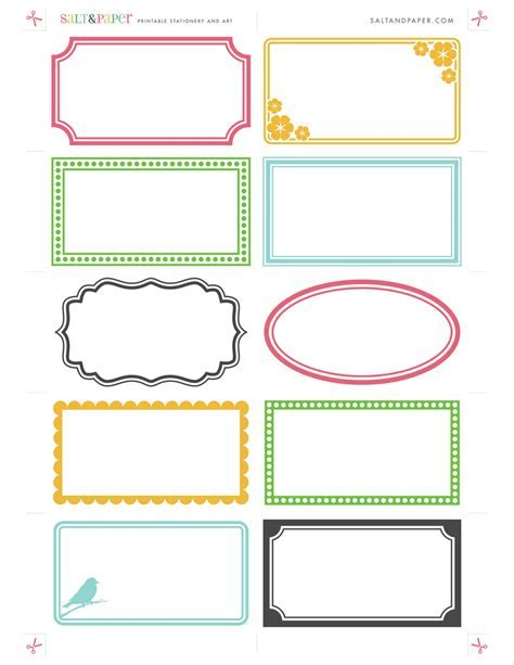 Printable labels from saltandpaper.com   For a high