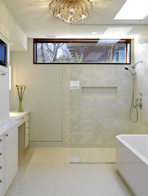 High Windows Bathroom Contemporary With White Cabinets
