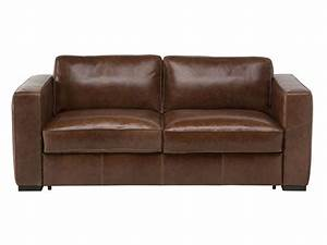 Canapé fixe 3 places en cuir HAVANE coloris marron Vente de Salon de jardin Conforama
