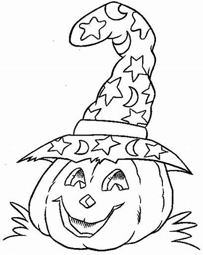 Halloween Coloring Pages Witch Hat Pumpkin Decoration