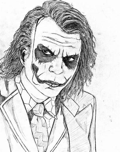 Joker Coloring Pages Heath Ledger Knight Dark